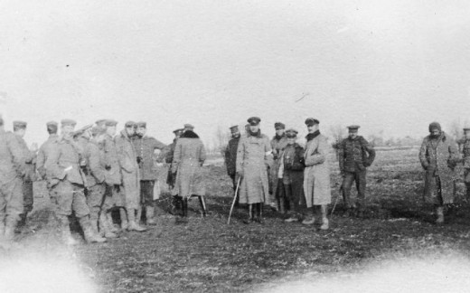 British and German troops meeting in No-Mans's Land during the unofficial truce. (British troops from the Northumberland Hussars, 7th Division, Bridoux-Rouge Banc Sector).