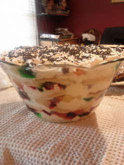 Trifle Recipe: Christmas Trifle With Ribbons of Red and Green Jello