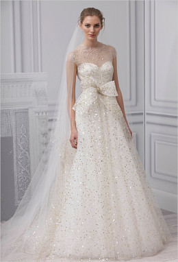 Champagne glitter and glitz make this a perfect Christmas wedding dress.