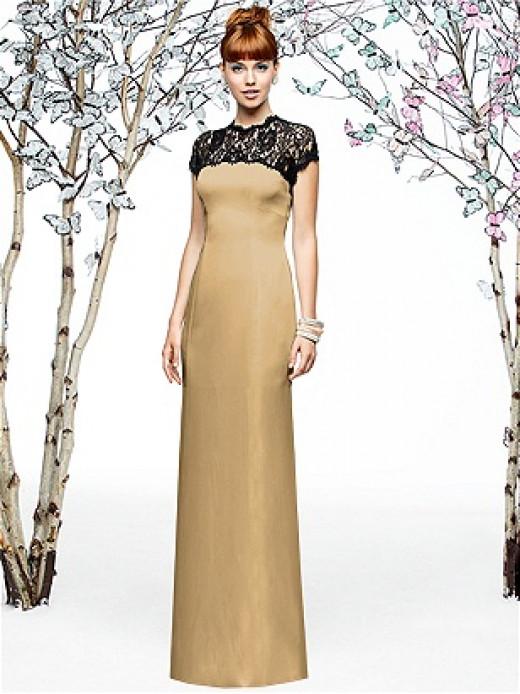Consider using Venetian gold dresses.  Dress designed by Lela Rose Style LX196