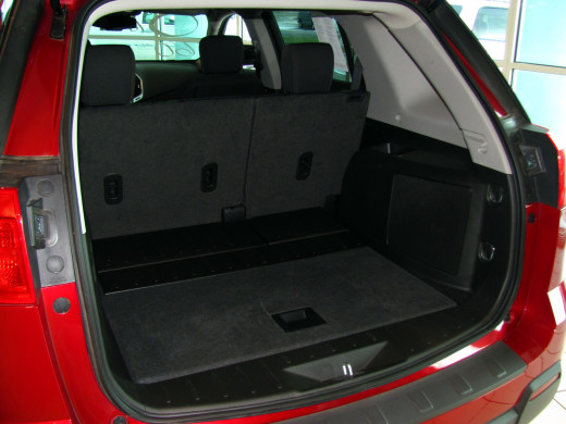 Cargo capacity for Terrain is 31.6 cubic feet behind the rear seat, 63.9 cubic feet with rear seat folded.