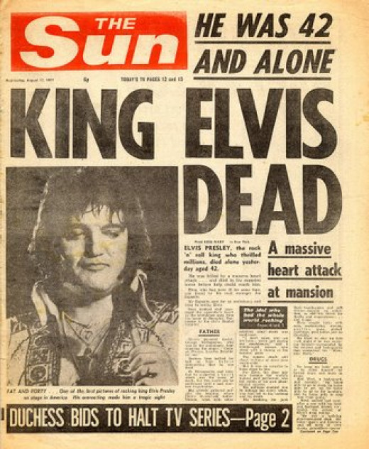 There are a lot of post-death Elvis papers out there. More rare are good pieces printed before Elvis died. You'll find they're a lot more valuable too!