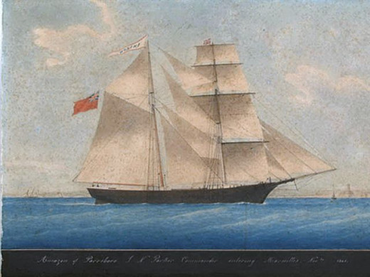 The Mary Celeste painted by an unknown author when it was first commissioned as the Amazon.