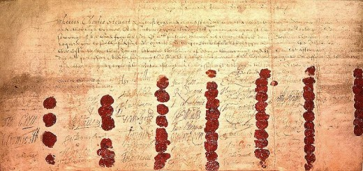 On 29th January 1649, Charles I was found guilty of being a traitor. His death warrant shown here, is endorsed by many signatures, including that of Oliver Cromwell.