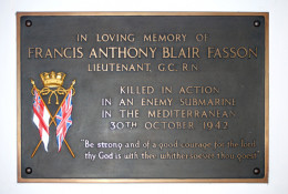 Memorial plaque in honour of First Lt Fasson