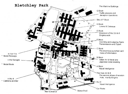 A plan of the Bletchley Park site