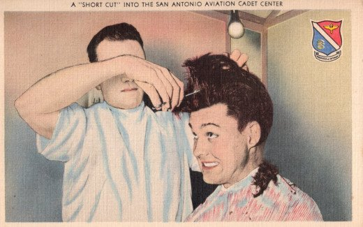 """Don't argue with the barber. Hair cuts are mandatory,"" reads the sign in S.A.A.C.C. barber shop. ""The Classification Clip"" is the name givin these ""short cuts"" by S.A.A.C.C. cadets."