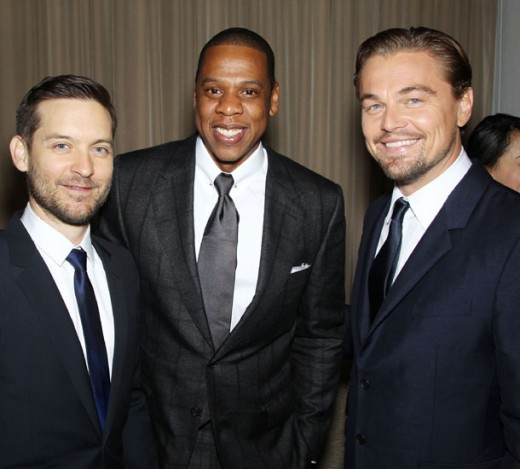 Carey Mulligan, Jay Z and Leonardo DiCaprio all dressed in suite and ties
