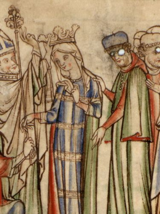 Queen Eadgytha's coronation in 1045 - she would be packed off to a nunnery when her father and husband fell out six years on, to be reinstated to her titles and lands the year after