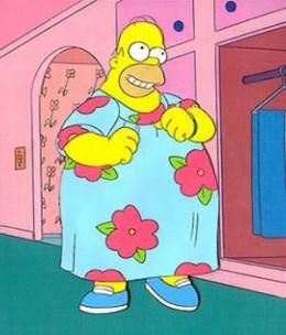 Homer Simpson wearing a muumuu. Not Shown: Fat Guy Hat.