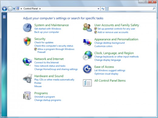 The default control panel of Windows 7... The Classic view option is highly recommended.