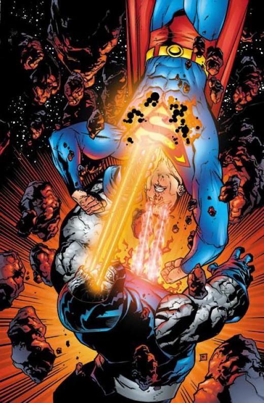 Superman's Heat Vision versus Darkseid's Omega Beams