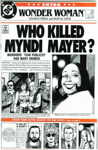 The cover of Wonder Woman #20, featuring a headline newspaper regarding the events of Myndi Mayer's death.