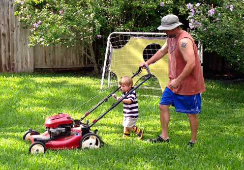 Doing yard work together can be productive, quality time.