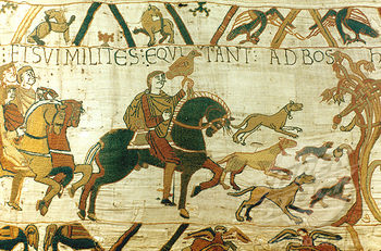 Harold hawking in Normandy with William, from  Bayeux Tapestry