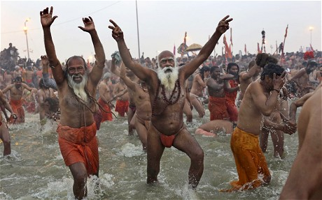 Thousand and thousand of people go to this Indian river Ganges to bath in its waters to clean their sins or whatever they believe they need to do. People need their religions beliefs to live a meaningful life. Even if we think they are strange.