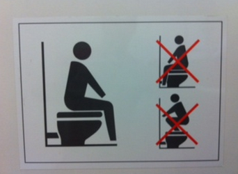 An example of a sign in China that teaches how to use a Western toilet.