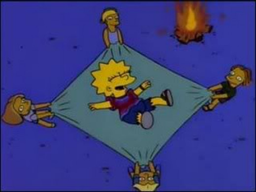 Lisa Simpson with her new friends.