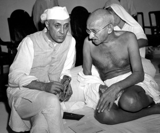 Gandhi and Nehru in serious mode. It was Quit India Movement in 1942. Nehru was one of the most important leaders of India's freedom movement. Later he became 1st Prime Minister of India.
