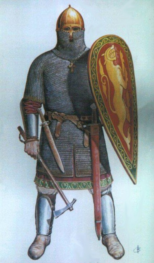 Mediaeval Rus man at arms - the outfit owed much to its Scandinavian origins - the shield looks much like that of the Normans'