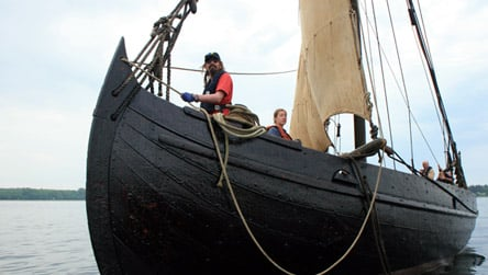 Aboard Danish trading knarr or trading ship 'Ottar' - Osferth's ships would have been similar, for deep-water trading
