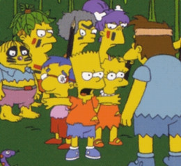 Bart defending Lisa and Milhouse against the local savages.