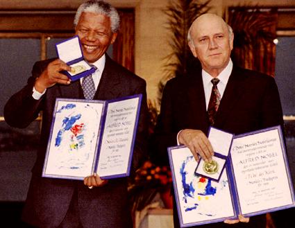 Nelson Mandela receiving Nobel Prize