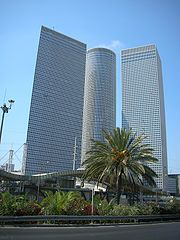 Towers of Azrieli Center. One tower is square, another is round and one is triangular.