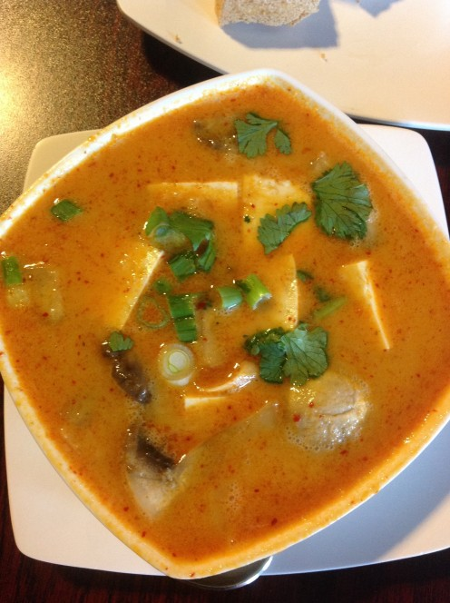 Hot, Pungent and Sour Coconut Curry Soup with Tofu.