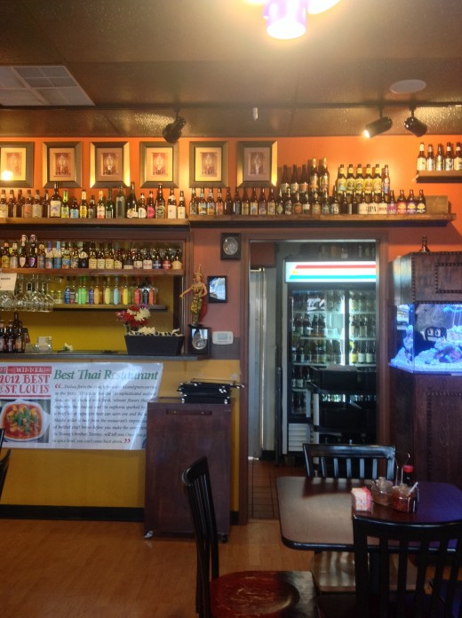 The Interior of Pearl Cafe, Including the Wall of Beer.