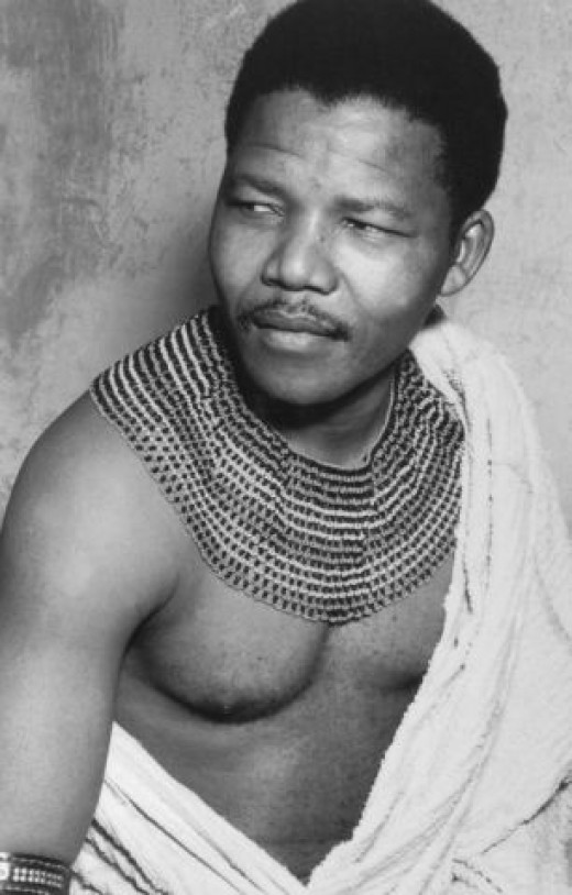 A young Nelson Mandela in his traditional clothing,