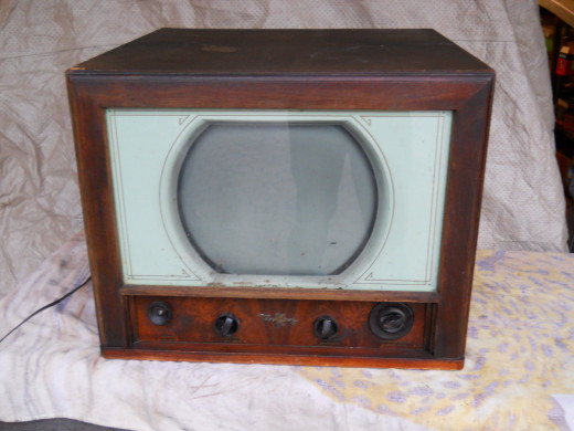"Vintage 1948 Tele King Tabletop 10"" TV Television Old Wood Veneer Case"