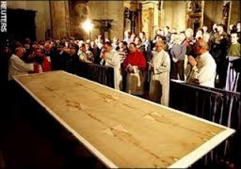 On a rare occasion the Shroud of Turin has been placed on public display for viewing.