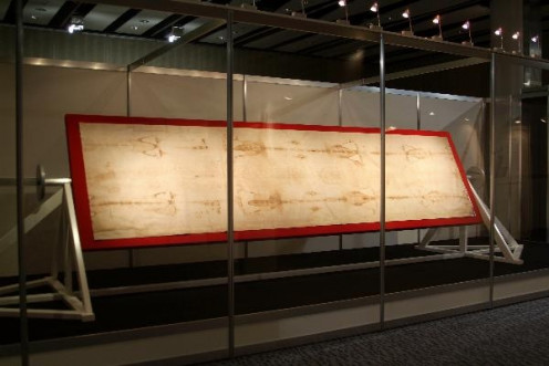 The Shroud of Turin on display in Turin, Italy. The Shroud is rarely put on display.