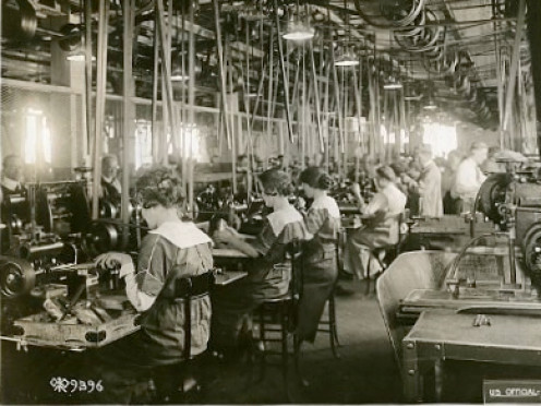 Girls operating milling machines on bolts - Remington Arms & Ammunition Factories Plant U. S. Army Signal Corps