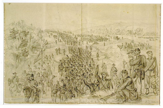 Sheridans army following Early up the Valley of the Shenandoah