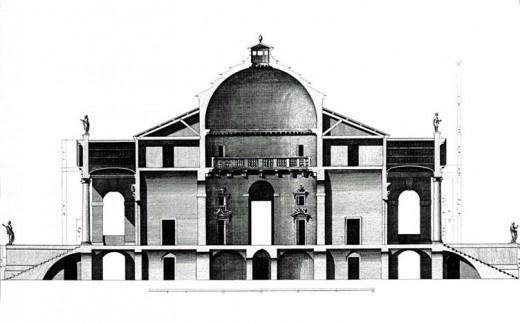 """Villa Capra, Vicenza, Palladio - Seccion de """"i quattro libri"""" - 1570 - Publicacion de Ottavio Bertotti Scamozzi, 1778"""