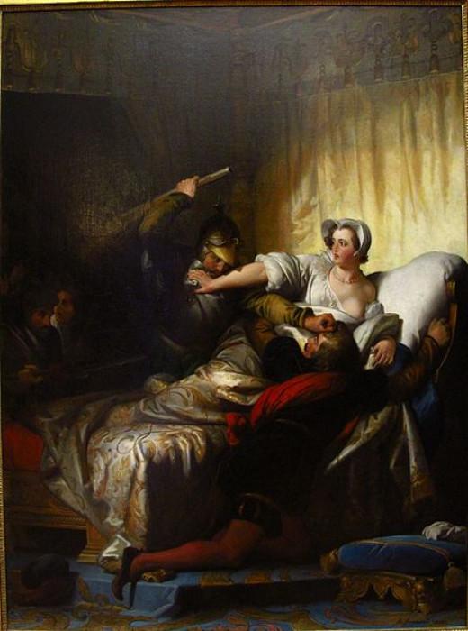 Scene in the bedroom of Marguerite de Valois during the St. Bartholomew's Day massacre