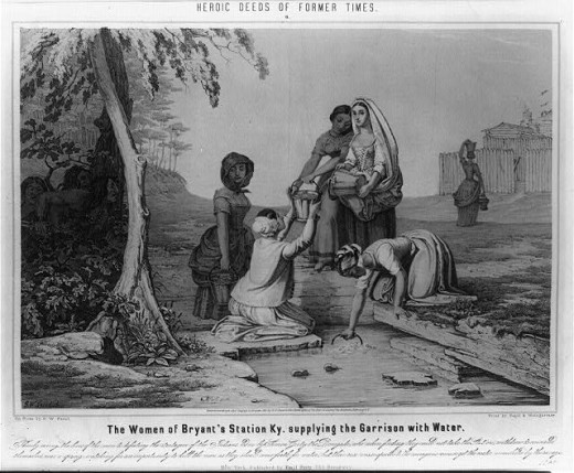 Depiction of the women of Bryan Station getting water while Native Americans, who are about to besiege the settlement, watch. Famous event in Kentucky during the American Revolutionary War.