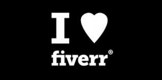 I Love fiverr.com poster in black and white with love as a heart symbol - online services for making and saving money as a small business owner