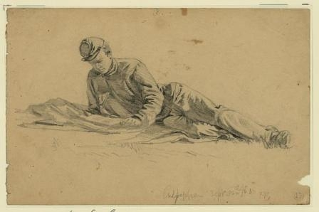 A sketch of a soldier as he reads a letter from home