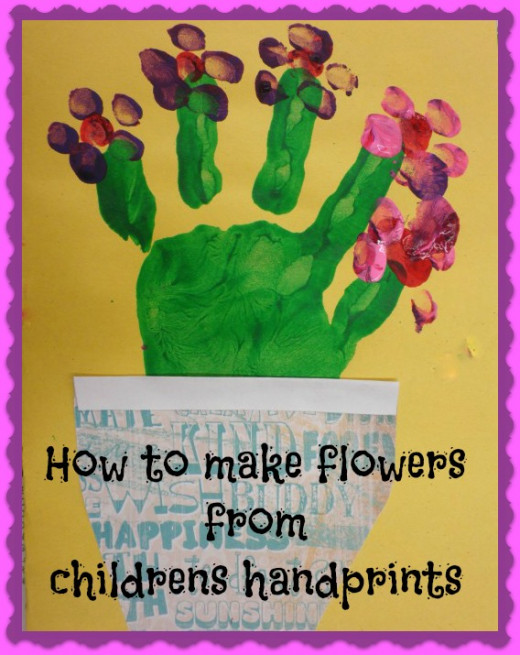 "Really cute craft to do with your kids. Makes a great keepsake for mom, dad, Grandma or grandpa. This child cut out a ""pot"" out of scrap-booking paper and glued it under their hand art. The flowers were done with paint and thumb prints. Source: Dorsi"