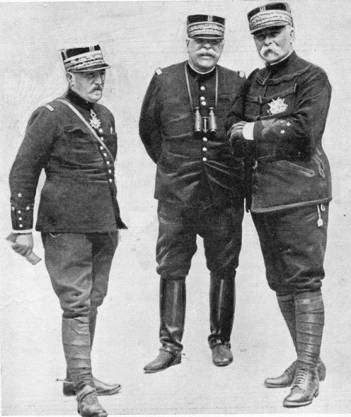 "Three famous French leaders Generals de Castelnau, Joffre, and Pau ""snapped"" in counsel at headquarters."