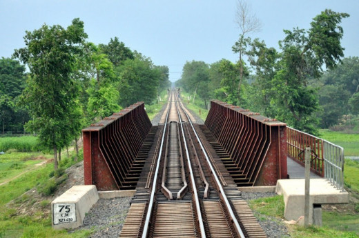 A train line with steel walls for safety