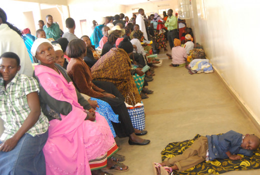 Patients waiting for treatment at Fort portal regional referral hospital Out patient department