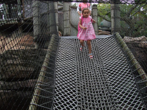 Camp Jurassic has a large play area with nets, caves, slides and obstacles