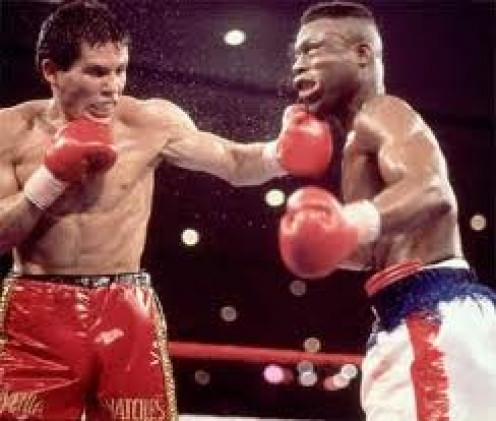 Julio Cesar Chavez knocked out Meldrick Taylor, the first time by dramatic twelfth round knockout.