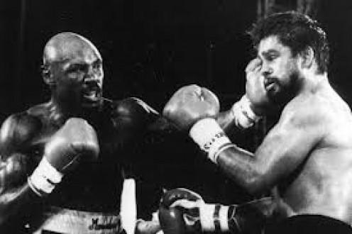 Marvelous Marvin Hagler beat Roberto Duran in defense of his Middleweight Crown.