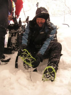 """A gentleman called """"Bill"""" uses a set of Lime Green Yaktrax in the snow. I like the Neon Orange best, but they are available in Black."""