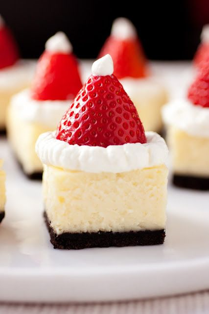 Strawberry Santa Hat Cheesecake Squares